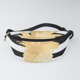 Gold Pineapple Black and White Stripes Fanny Pack
