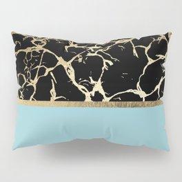 Elegant black teal faux gold modern marble Pillow Sham