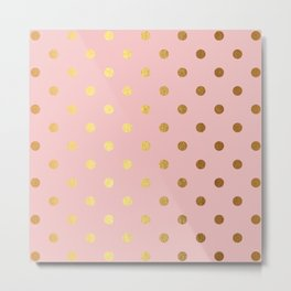Gold polka dots on rose gold background - Luxury pink pattern Metal Print