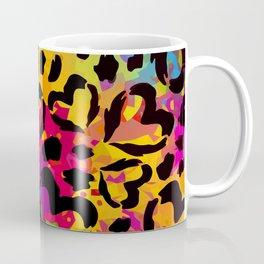 Vector Rainbow Camo with Black Hearts Coffee Mug
