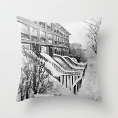 Brooklyn New York in Snow Storm Black and White Throw Pillow