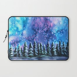 Watercolor Winter Pines under the Northern Lights Laptop Sleeve