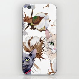 Cotton Flower & Cat Pattern 01 iPhone Skin