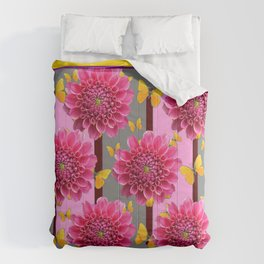 PINK DAHLIAS YELLOW BUTTERFLIES GREY ART Comforters