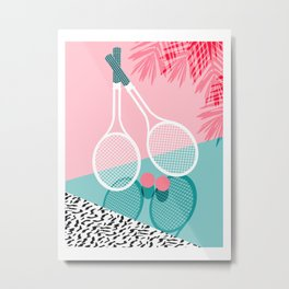 Sportin' - retro minimal pastel neon throwback memphis style pop art tennis sport court player Metal Print