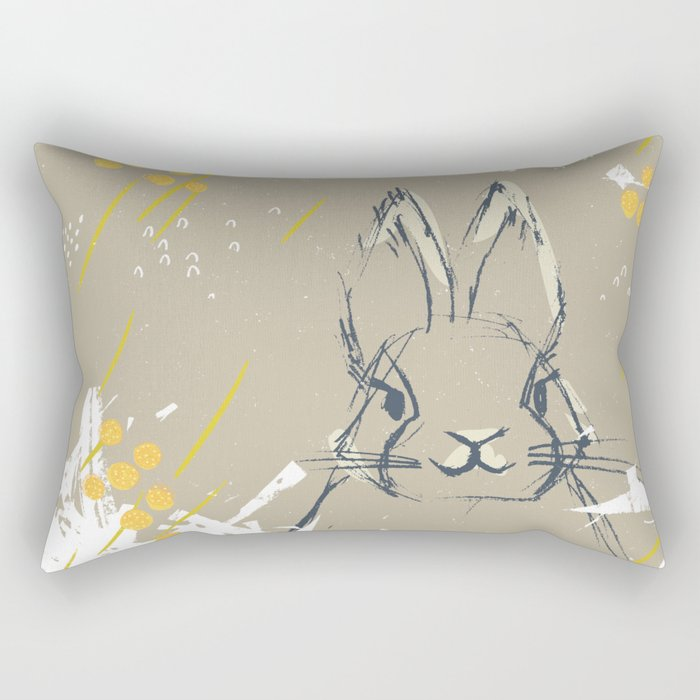 Bunny Portrait M+M Latte by Friztin Rectangular Pillow