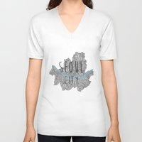 seoul V-neck T-shirts featuring Seoul city by Vania Pietronigro