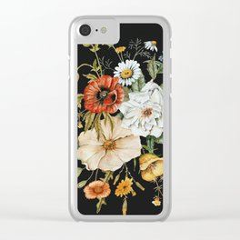 Wildflower Bouquet on Charcoal Clear iPhone Case
