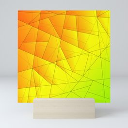Bright summer pattern of yellow and green triangles and irregularly shaped lines. Mini Art Print