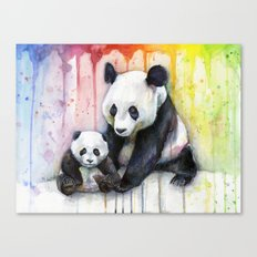 Pandas and Rainbow Watercolor Mom and Baby Panda Nursery Animals Canvas Print