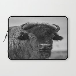 Buffalo Stance - Bison Portrait in Black and White Laptop Sleeve