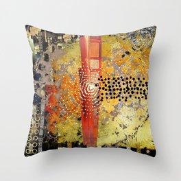 Orange Gold Burst Abstract Art Collage Throw Pillow