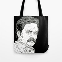 ron swanson Tote Bags featuring Ron Swanson by Andy Christofi
