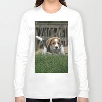 puppies Long Sleeve T-shirts featuring Beagle puppies by Martina Berg
