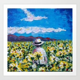 The Sunflower Man of Maui - by MylesKatherine Art Print