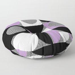 Segments and Circles Black Purple Floor Pillow