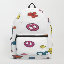 Peace Love Flowers Backpack