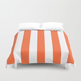 Smashed Pumpkin orange - solid color - white vertical lines pattern Duvet Cover