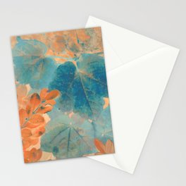 Blue and Orange Autumn Leaves Stationery Cards