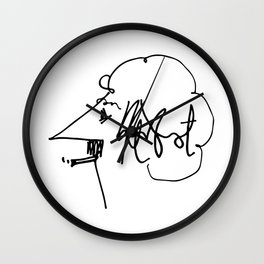 Vonnegut Self Portrait Artwork, Design for Wall Art, Prints, Posters, Tshirts, Bags, Women, Men, Kid Wall Clock