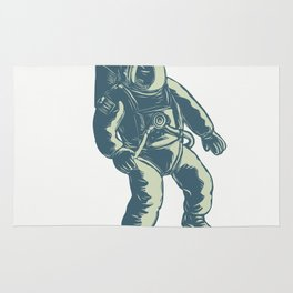 Astronaut Floating in Space Scratchboard Rug