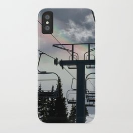 Ski Lift Rainbow Sky \\ The Mountain Sun Rays \\ Spring Skiing Colorado Winter Snow Sports iPhone Case