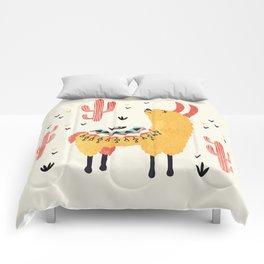 Yellow Llama Red Cacti Comforters