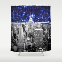 new york city Shower Curtains featuring new york city. Blue Stars by 2sweet4words Designs