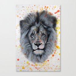 Splattered Charcoal Lion Canvas Print