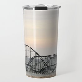 Jet Star Roller Coaster in Ocean After Hurricane Sandy Travel Mug