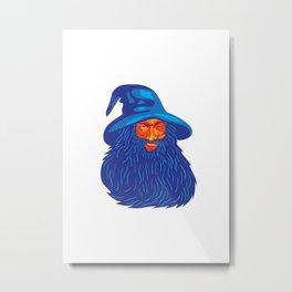 Norse God Odin Beard WPA Metal Print