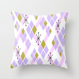 Mid Century Modern Diamonds (Pink) Throw Pillow