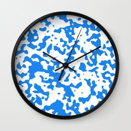 Spots - White and Dodger Blue Wall Clock