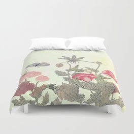 Butterfly and flowers -The Still Point Duvet Cover