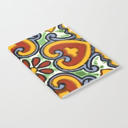 Talavera Mexican tile inspired bold design in green, gold, red and blue Notebook