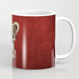Cute Cougar Cub Wearing Reading Glasses on Red Coffee Mug