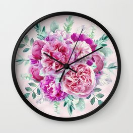 Beautiful soft pink peonies Wall Clock