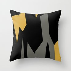 Black yellow and gray abstract Throw Pillow