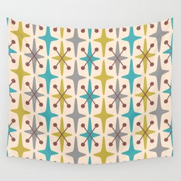 Mid Century Modern Abstract Star Pattern 441 Gray Brown Turquoise Olive Green Wall Tapestry