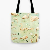 flamingos Tote Bags featuring Flamingos by Lisa Argyropoulos