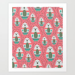 Bears with dots in pink Art Print