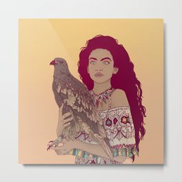 Falcon Lady Metal Print