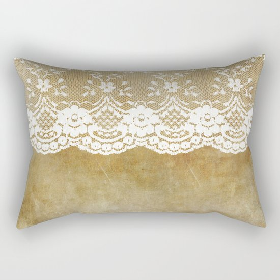 The elegant lady- White luxury foral lace on grunge backround Rectangular Pillow