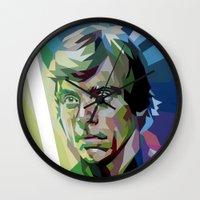 luke hemmings Wall Clocks featuring Luke by iankingart