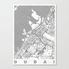 Dubai Map Line Canvas Print