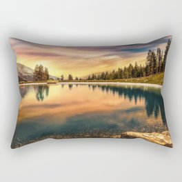 Lake Mountains and Sunset Rectangular Pillow