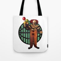 pennywise Tote Bags featuring Pennywise by Monsterinbox
