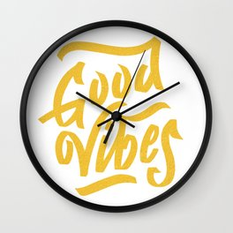 Good Vibes, white & gold lettering Wall Clock