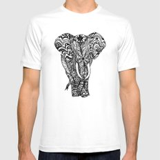 psychedelic elephant -e White MEDIUM Mens Fitted Tee