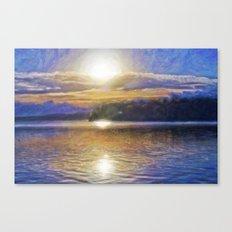 Sun Rising Over Lake - Art Edit Canvas Print